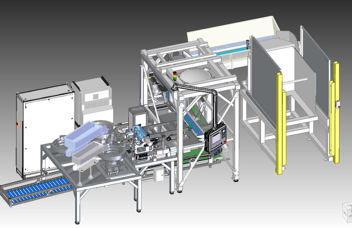 Automatische Zuführung von Schüttgut, Vereinzelung, Platzierung durch Roboter, Qualitätskontrolle und Verpackung