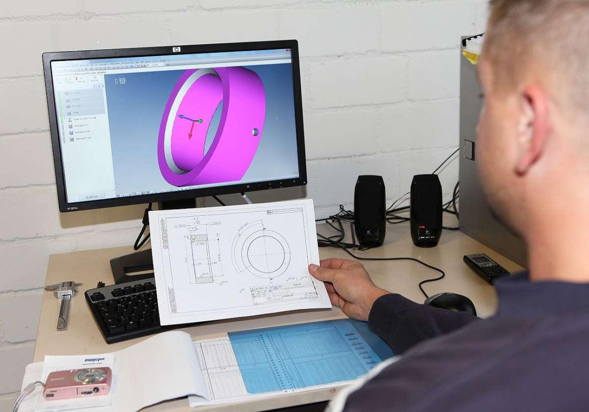 Zeichnungsteil - CAD-Daten und Zeichnung bei der Firma Magepa Feinmechanik GmbH