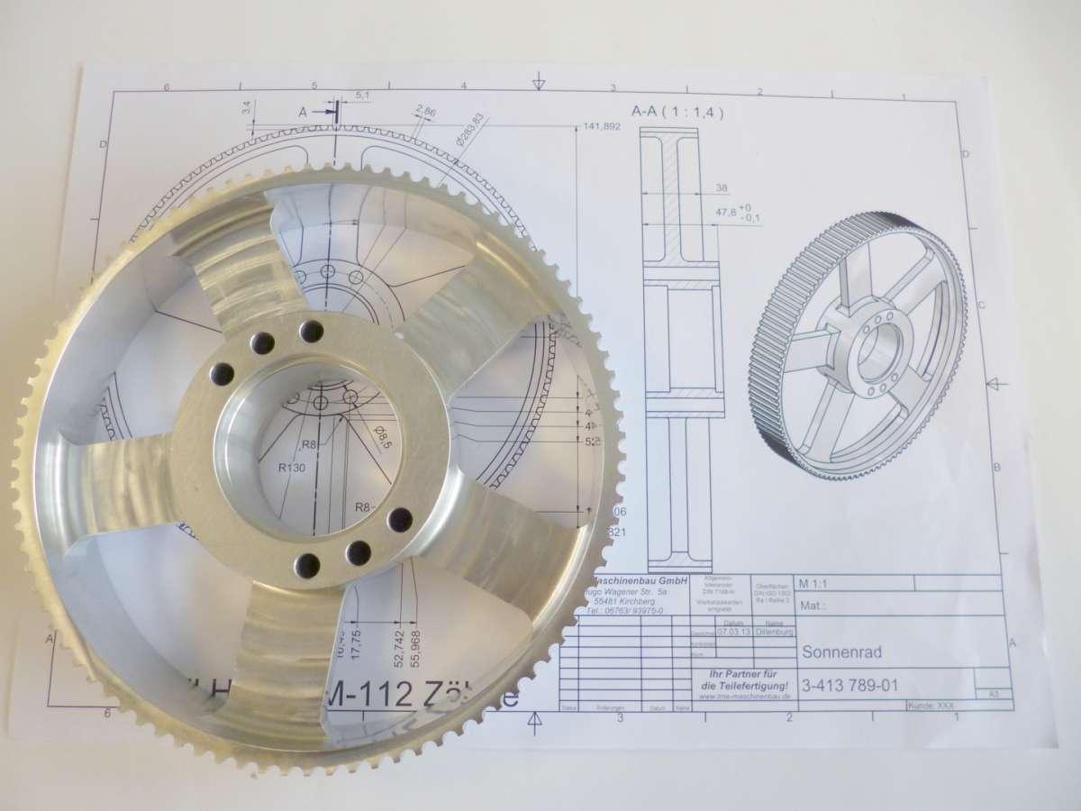 Zeichnungsteil Sonnenrad - Firma TME Maschinenbau GmbH